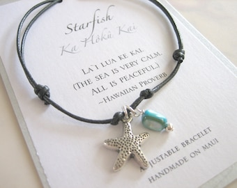 Starfish Adjustable Cord Bracelet