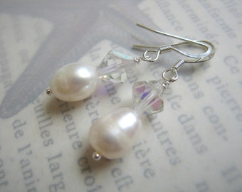 Pearl and Vintage Crystal Earrings