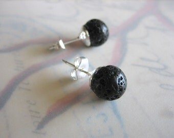 Lava Ball Stud Earrings