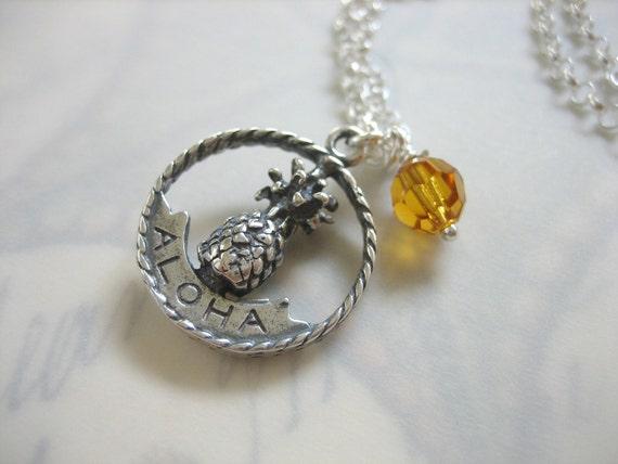 Aloha Hawaii Birthstone Necklace