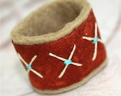 Textile Ring Fabric Hand Embroidered Star and Chain