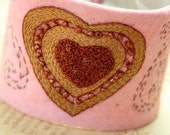 Valentine Bracelet Cuff Fabric Textile Hand Embroidery Hand Stitched Embroidery Heart Wrist Wool Felt Beaded