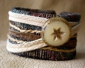 Country Star Leather Textile Mixed Media Cuff