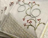 Fabric Coaster Textile Home Garden Entertaining Hand Embroidery Hostess Gourmet Gift  Linen Winterberry