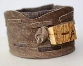 CUSTOM ORDER: STEPHANE  Leather Cuff and Wood Cuff