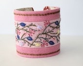 Hand Embroidery Fabric Textile Wrist Cuff Hand Embroidery pink pastel Wildflower Romance Bracelet Featured In CrossStitch and Needlework