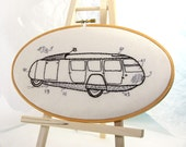 Hoop Art Buckminster Fuller Dymaxion Car Hand Embroidery Series Wall Hanging