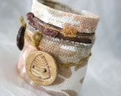 Fabric Mixed Media Jewelry Wrist Cuff Bracelet Beehive Textile