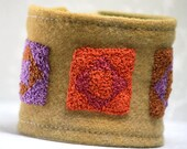 Fabric Textile Jewelry Cuff Hand Embroidery Bracelet Quilt Blocks Squares Jewel Tones Bamboo French Knots