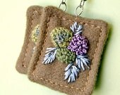 Hydrangea Fiber Fabric Earrings Textile Hand embroidery