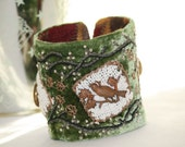 Wrist Cuff Velvet Ren Faire Renaissance Fabric Mystic Forest Green with Nightingale
