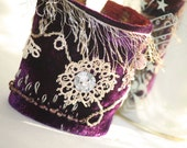 Textile Velvet Fabric Cuff Bracelet Gifts for Her Gatsby Fantasy Renaissance  in Purple Hand Embroidered details and Vintage Lace