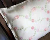 Pink Shabby Chic Daisies Pillow Hand embroidered Vintage Linen