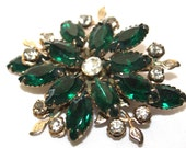 Vintage Flower Emerald Green Brooch and Clear Crystals