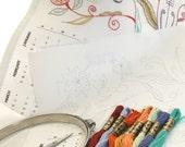 2013 Calendar Hand Embroidery Kit Pattern Needlework Wall Art Jacobean Fantasy DIY Tutorial with Thread