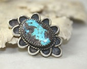 Sterling Silver Morenci Turquoise Sky Blue Gold Veining Pendant Vintage Southwestern Native American