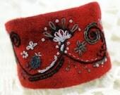Hand Embroidery Fabric Textile Wrist Cuff Garnet Jacobean Fantasy Wool Felt Bracelet