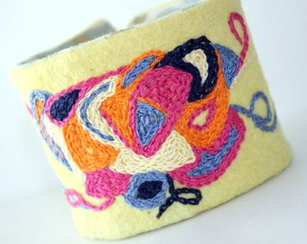 Fabric Textile Cuff Bracelet Fiesta Doodles Hand Embroidery Pink Orange Yellow