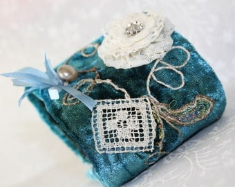 Victorian Velvet Lace Fabric Cuff Bracelet Hand Embroidery Sea Gypsy Cottage Chic Crazy Quilt