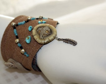 Southwest Silver Leather Turquoise Cuff Bracelet