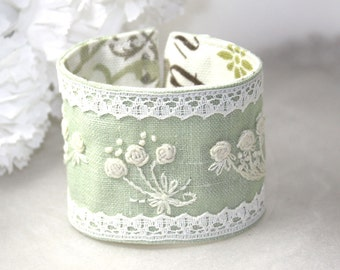 Fabric Hand Embroidery bracelet  Textile Cuff Mint green Rose Bouquet Embroidery with Lace