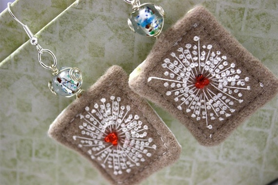 Earrings Hand Embroidery Textile Queen Annes Lace