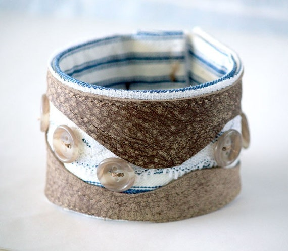 Leather Lace Textile Ticking Fabric and Buttons Bracelet Cuff