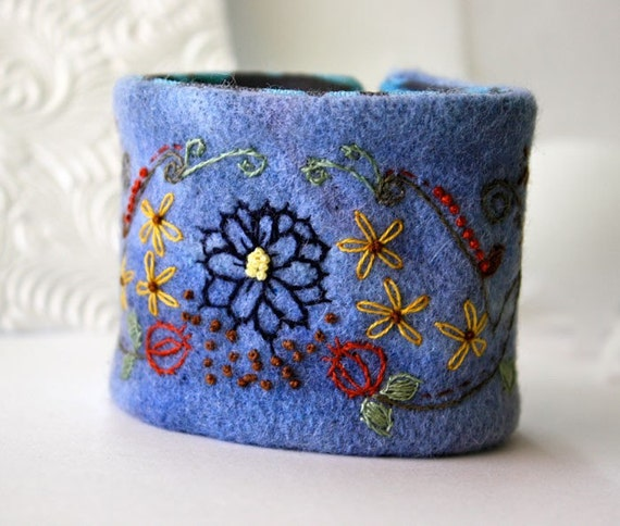 Wrist Cuff Bracelet Jacobean Hand Embroidered Pomegranate Flowers