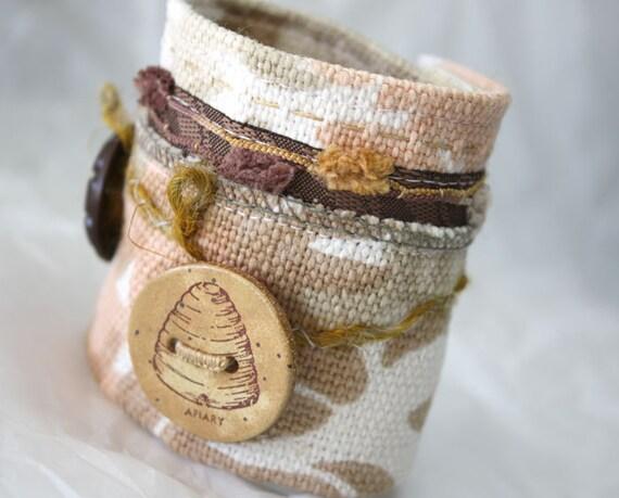 Fabric Mixed Media Jewelry Wrist Cuff Bracelet Beehive Textile