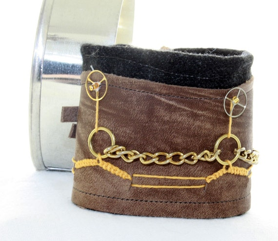 Steampunk Bohemian Leather Wool cuff for him or her
