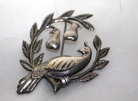 Vintage Coble and Corey Partridge Pear Tree Brooch in Sterling Silver