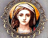 St. Agatha, Patron Saint of Breast Cancer Patients,  Icon Necklace in Antique Gold