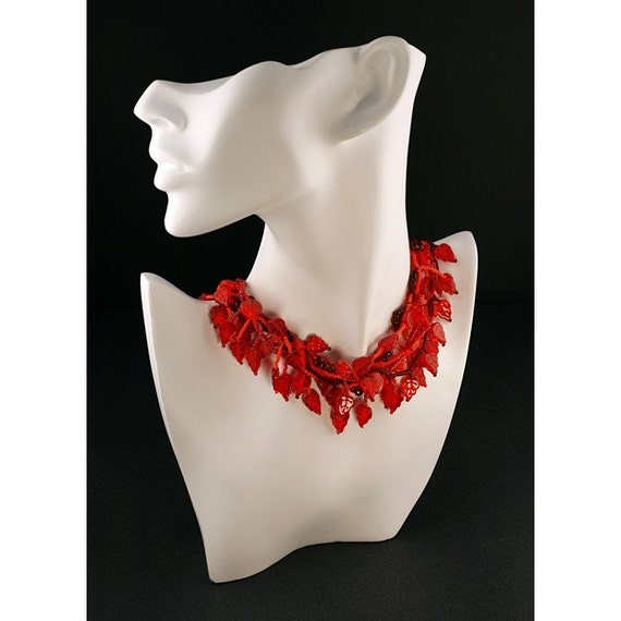 Red Summer  17 inches Hand Beaded  Czech Glass Beads Necklace (DN008)