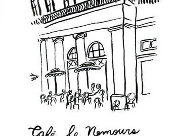 Art print of the Cafe le Nemours in Paris, France