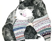 Knitted Bear A3 Print
