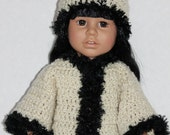 18 inch doll clothes hand crocheted open sweater and hat