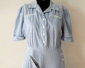 As Is - 19430s 30s 1940s 40s Denim Railroad Stripe Cotton Day Dress - M