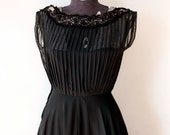 1950s 50s Black Pintuck and Lace Cocktail Party Dress - XS