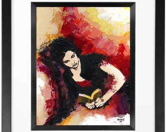 8 x 10 Woman Reading Original Painting (framed)