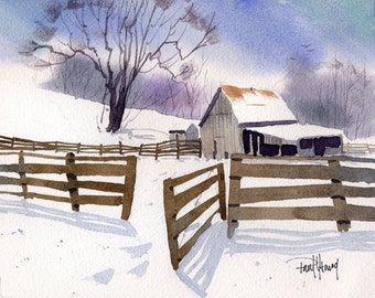 Snow Shadows-Print from an original watercolor painting