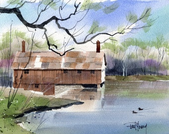 Sawmill-Print from an original watercolor painting