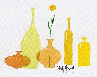Yellows-Print from an original watercolor painting