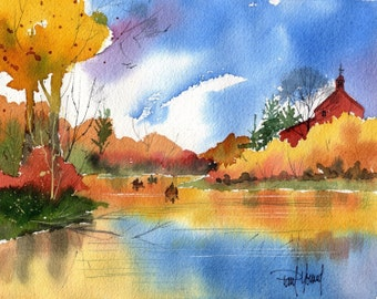 Canoes-Print from an original watercolor painting