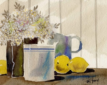 Country Still Life-Print from an original watercolor painting