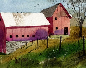Two Barns 2-Print from an original watercolor painting