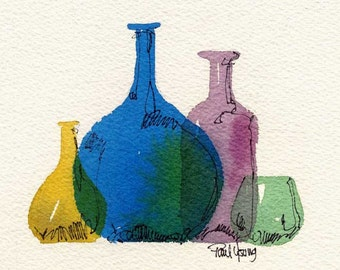 Bottles-Print from an original watercolor painting