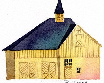 Yellow Carriage House-Print from an original watercolor painting