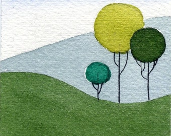 ACEO Art Card Print-3 Trees-From an original watercolor painting