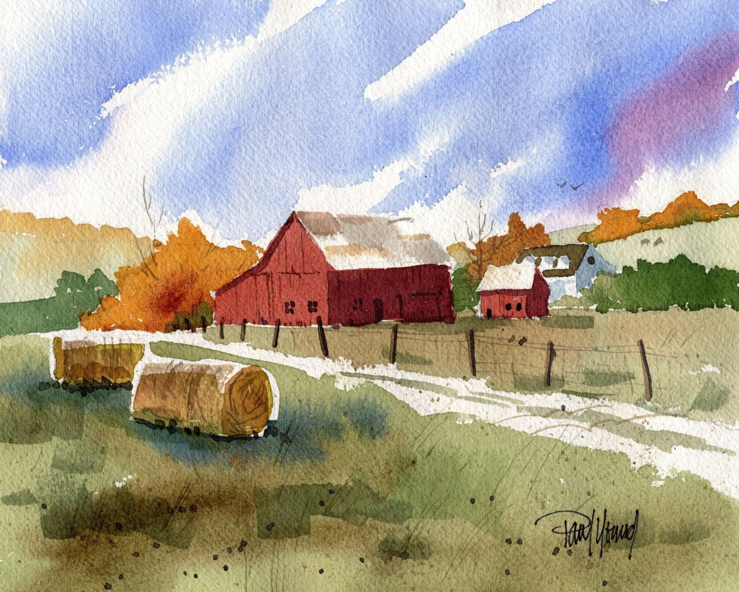 Warm autumn country barn scenic landscape print landscape for Watercolor barn paintings
