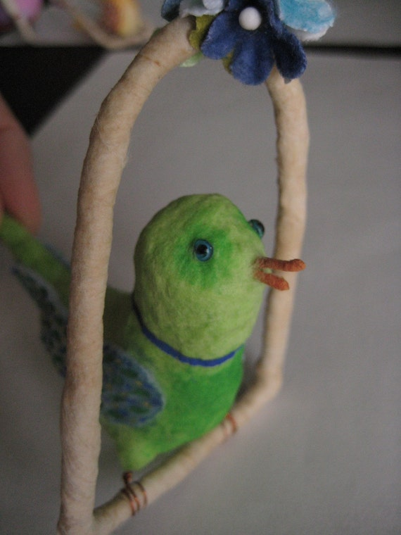 Spun Cotton Green Bird on a swing